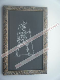 Mahatma Gandhi Father of India Signed Art Print in Old Wooden Frame India #2386