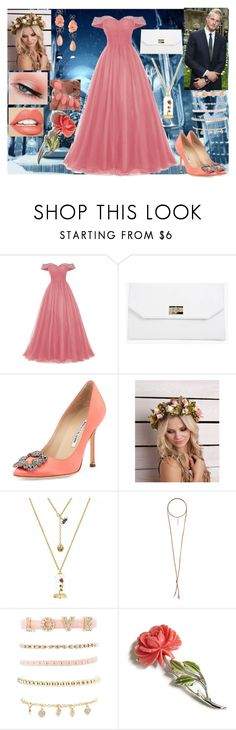 """""""Yule Ball"""" by vampirekitty34 ❤ liked on Polyvore featuring Boohoo, Bulgari, Manolo Blahnik, TheBalm, Natalie B, Charlotte Russe and Lydia Courteille"""