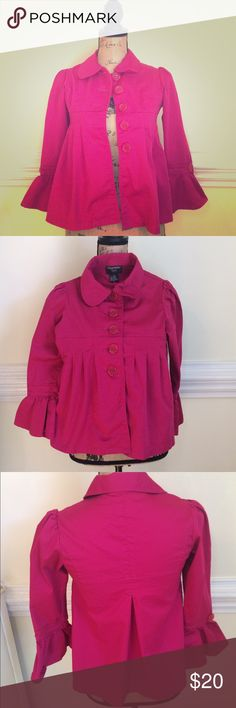 Wearever Girl Size 10 Jacket Fuschia Empire Waist Here is a fuschia jacket with empire waist and ruffled sleeves by Wearever Girl, size 10.  Stretch cotton twill, lots of detail! Measures Chest: 28 inches, Hip: 40 inches, Sleeve Length: 19 inches, Jacket Length: 21 inches. Dress up jeans, or dressy enough to top a sundress. There's a little pick in back, please see photos. Wearever Girl Jackets & Coats Blazers