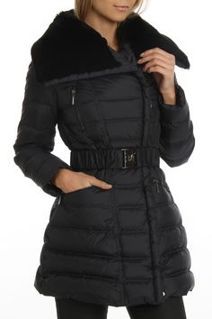 Dawn Levy Rex Rabbit Trim Lola Puffer Coat In Abyss - Beyond the Rack
