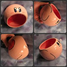 This ceramic Kirby bowl will suck down anything you put in his mouth, including your favorite beverage, spare change, jewelry, or food. Personalized the bowl with custom colors or have your name placed on in any font or color you want! #kirby #nintendo