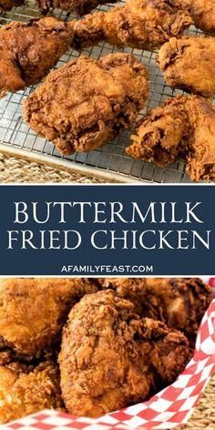 This Buttermilk Fried Chicken recipe is crispy and flavorful on the outside, and juicy and tender on the inside! A true, classic Southern fried chicken recipe! Southern Buttermilk Fried Chicken, Recipe For Kentucky Fried Chicken, Best Fried Chicken Recipe, Buttermilk Recipes, Best Chicken Recipes, Southern Fried Chicken Breast Recipe, Old Fashioned Fried Chicken Recipe, Turkey Recipes, Buttermilk Fried Chicken Tenders
