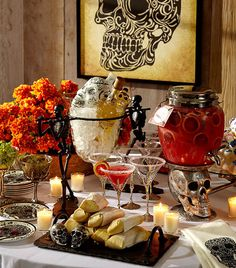 A Day of the Dead celebration. #potterybarn.  I am so saving my money to buy the ice holder.  Love the day of the dead stuff