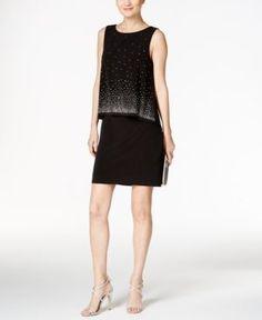 Jessica Howard Embellished Popover Sheath Dress - Black 14