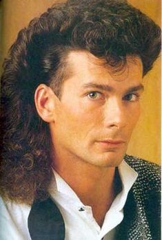 """Hey girl, can I borrow your hot rollers?""  Men's curlhawk, 1980s.  #BigHairWeek"