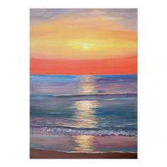 Shop Colorful Beach Sunset Poster created by LockArt. Beach Sunset Painting, Sunrise Painting, Watercolor Sunset, Sunset Canvas, Beach Art, Sunset Paintings, Unique Paintings, Ocean Sunset, Sunset Art
