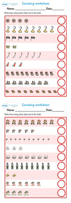 Twinkl Resources >> My counting worksheet (Pirates)  >> Thousands of printable primary teaching resources for EYFS, KS1, KS2 and beyond! counting worksheet, pirate, pirates, pirate themed, counting, activity, how many, foundation numeracy, counting on, counting back, flag, pirate, bunting, treasure, ship, jolly roger, ship, island, ocean, foundation maths,