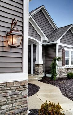 Siding Color Ideas with Residential Construction Front Entrance Porch Red