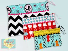 Zippered Pouches in Three Sizes