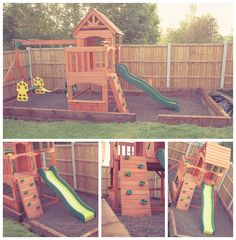 Click this image to show the full-size version. Childrens Play Area Garden, Kids Play Area, Kids Backyard Playground, Backyard For Kids, Garden Bark, Outdoor Play Areas, Backyard Buildings, Play Yard, Outdoor Projects