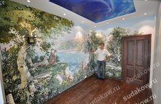 фото готовой настенной росписи Garden Painting, Mural Painting, Mural Art, Ceiling Murals, Wall Murals, Wall Art, Design Case, Wall Design, Plaster Walls