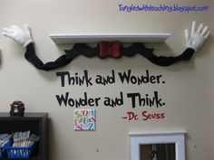 Tangled with Teaching: Dr. Seuss Classroom Theme Day 3 Truffula Trees & Cat in the Hat Shelf