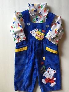 Vintage Corduroy Royal Blue Overalls w Matching Jelly Beans Shirt Newborn | eBay