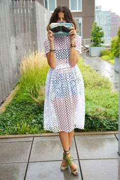 """How to Wear a Sheer Blouse - Leandra Medine of 'The Man Repeller"""" wearing a sheer white lace dress"""