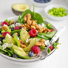 Start your year off right with a fresh, vibrant salad. This delicious spinach salad is chock-full of superfoods—walnuts, blueberries, spinach, edamame—whole foods that help your body stay healthy and get vital nutrients for optimum health. The Good Cook salad spinner makes it easy to clean your greens and serve them up, since the bowl becomes a serving dish for your salad. Healthy eating has never looked so good, or been so simple!