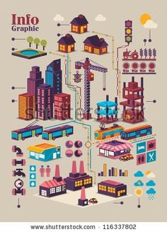 isometric city info graphic,city background with isolated buildings by filip robert, via ShutterStock