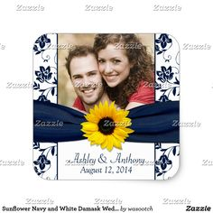 Sunflower Navy and White Damask Wedding Stickers The text on these sunflower navy or marine blue and white damask foral wedding stickers or envelopes seals is fully customizable. To change the text use the personalize option. For more extensive changes to the stickers including changes to the font, font color, font size, photo size, photo placement, or text placement, use the customize option. These are great stickers to use as favour tags or envelope seals for your wedding in any season.