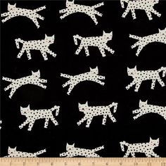 Cotton + Steel Black & White 2017 Neon Snow Leopard Black Fabric by The Yard Black And White Fabric, Black Neon, Black White, Black Cream, Sunflower Canvas, Fabric Factory, Thing 1, Cat Fabric, Yellow Cat