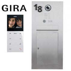 Edelstahl Briefkasten Designer mit Gira Videosprechanlage + Wohnungsstation + Steuergerät + Hausnummer - Komplettset