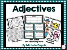 Adjectives: Task Cards and Printables
