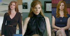 """The show, """"Suits,"""" began it's third season and although I enjoy the show, I realllly love the wardrobe for the actresses! Recently, I noticed that many of Vogue's dress patterns could easily be worn by any of these leading ladies. Donna Paulsen, Sarah Rafferty, Suits Usa, Suits Tv Shows, Vogue Dress Patterns, Tv Show Outfits, Office Fashion, Women's Fashion, Work Wardrobe"""