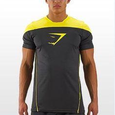 1ac89877891fce Professional Gymshark Men Tank Titan Stringer Tops Yellow T Shirt