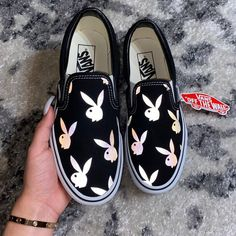 Playboy SLIPON Tag a friend who definitely need some new shoes Designed by - Deringa Vans Shoes Fashion, Vans Shoes Women, Custom Vans Shoes, Custom Painted Shoes, Nike Air Shoes, Custom Slip On Vans, Vans Shoes Outfit, Vans Men, Cute Vans