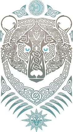 Bear in fine Celtic detail. Viking Art, Viking Symbols, Viking Runes, Norse Tattoo, Viking Tattoos, Thai Tattoo, Maori Tattoos, Tribal Tattoos, Celtic Patterns
