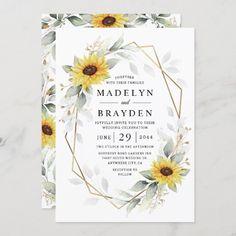 Sunflower Wedding Invitations, Country Wedding Invitations, Beautiful Wedding Invitations, Watercolor Wedding Invitations, Elegant Wedding Invitations, Custom Invitations, Wedding Stationery, Wedding Envelopes, Invites