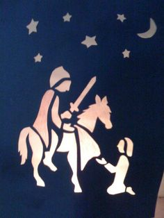 stencil for martinmas lanterns St Martin Of Tours, San Martin, Chalkboard Drawings, Chalk Drawings, Church Stage Design, Waldorf Crafts, Window Art, Silhouette, Art World