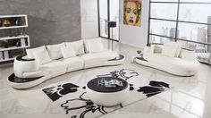 Ivory Faux Leather Sectional  w// Coffee Table 5Pcs American Eagle AE-L222-IV