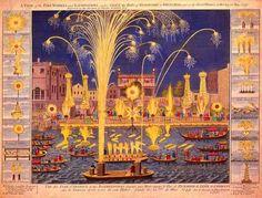 Los Reales Fuegos artificiales de 1749 sobre el Támesis. Grabado coloreado. (Fuente: Wikipedia)