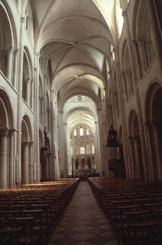 St. Étienne at Caen: or Abbaye aux Hommes, founded by William the Conqueror in 1064 and dedicated in 1077. Vaulted about 1130-35. This shows groin vaulting that is also very popular architecture during this time.