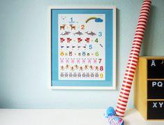Illustriertes Zahlen-Poster für große und kleine Menschen.   Alle Zahlen werden von einem passenden Tier repräsentiert. Zum Zählen lernen mit erste...