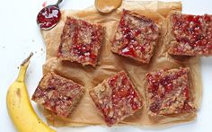 <p>This gluten-free and vegan snack bar is a fun twist on the traditional peanut butter and jelly sandwich! Made from oat flour, oats, and bananas, they're fluffy, sweet, and absolutely delicious.</p>