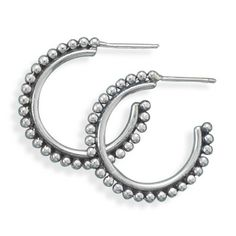 H-65133--Oxidized Bead ¾ Hoops Oxidized sterling silver bead ¾ hoop earrings with post back.  The earrings hang approx. 26.5mm.   .925 Sterling Silver