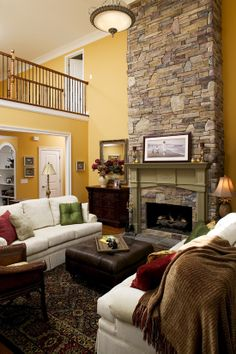 Fireplace - The Jamestowne - House Plan Number 828 Two Story Foyer Tray Ceilings & 52 best Cool Stone Fireplaces images on Pinterest | Stone fireplaces ...