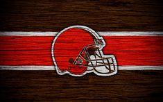 Download wallpapers Cleveland Browns, NFL, 4k, wooden texture, american football, logo, emblem, Cleveland, Ohio, USA, National Football League, American Conference