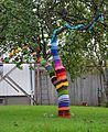 "Yarn ""bombing; aka guerrilla fiber art installations, usually outdoors.  :-)"