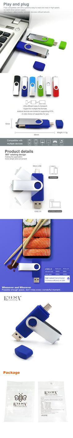 Easy Learning Pen Drive OTG USB Flash Drives Smartphone 64GB 32GB 16GB 8GB 4GB Flash Drive USB 2.0 Pendrive Memory Stick