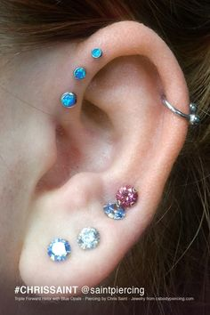 The forward helix studs are a really nice colour