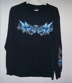 Top Heavy Shirt Size L Skull Dragon Graphics Blue Long Sleeve New with Tag