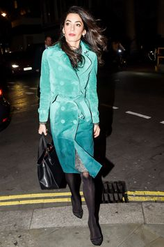 Amal Clooney in a green ombré Burberry suede trench