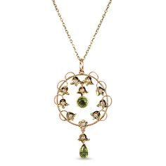 The Mignonette Pendant from Brilliant Earth Peridot, Seed Pearls in 15K Yellow Gold-1870's