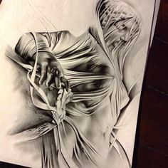 """Finished up part of this """"veiled mary"""" will be adding a lot more to it! Thanks for looking #tattoo #spooky #veiledmary #virginmary #create #BLVART #blackandgrey #pencil #graphite #work #wip #worldofartists #worldofpencils #sketch_daily #art #artist #artfido #arts_help #artcollective #art_spotlight #detail #drawing #drawingoftheday #theprocess"""