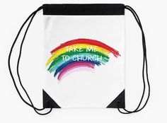 """Take Me To Church"" Drawstring Bags by bubbliciousart 