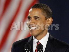 President-Elect Barack Obama Smiles During Acceptance Speech, Nov 4, 2008 People Photographic Print - 30 x 23 cm