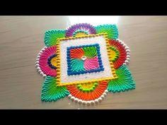 How to make easy & simple/unique Beautiful rangoli designs by Jyoti Rathod,rangoli,festival rangoli - YouTube