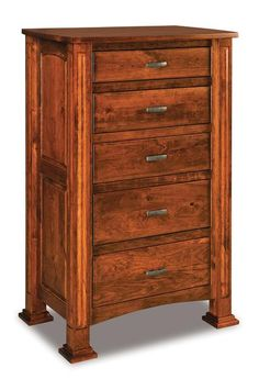 Amish Lexington Five Drawer Chest of Drawers Love using the Lexington for bedroom storage! It's built in the wood, finish, and hardware you choose. Cutomizations include adding a deep blanket drawer and a secret compartment for valuables. #bedroomchests #woodchests #bedroomfurniture