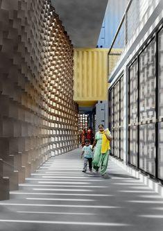 GA propõe arranha-céu de containers para favela em Mumbai,Corredor. Cortesia de GA Design